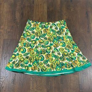 Boden green/yellow rose print a-line dress